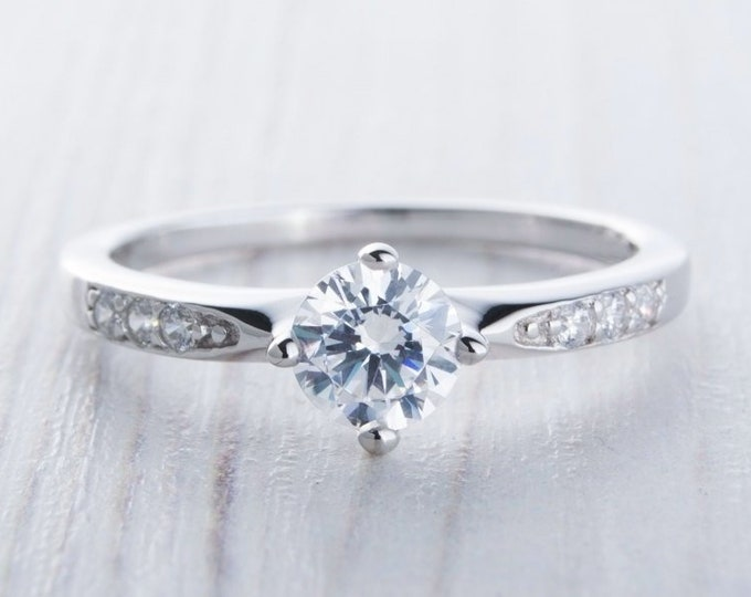 Genuine White Moissanite solitaire ring in sterling silver - engagement ring - wedding ring