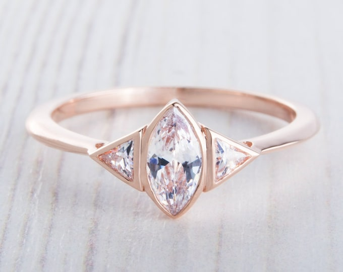 ON SALE! 10ct Rose gold ring with Marquise and Trillion cut Man Made Diamond Simulants - handmade engagement ring