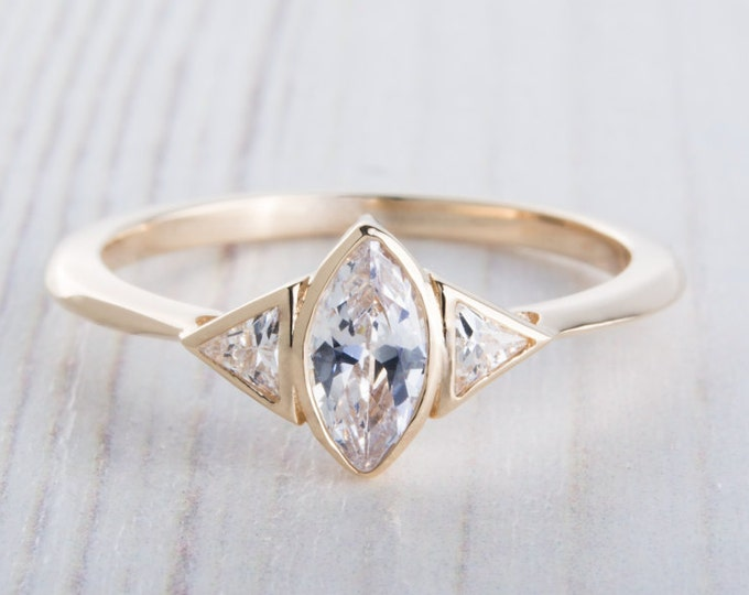 Solid 10ct Yellow gold ring with Marquise and Trillion cut Man Made Diamond Simulants - handmade engagement ring