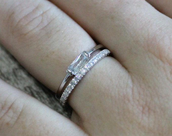 Man Made Diamond Simulant Stacking rings - Radiant solitaire ring and half eternity band - available in white gold or Silver