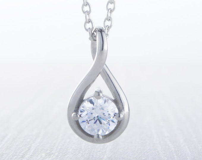 On Sale! Twist style Necklace with Man Made Diamond Simulant pendant - available in 5mm, 6mm stone sizes - titanium