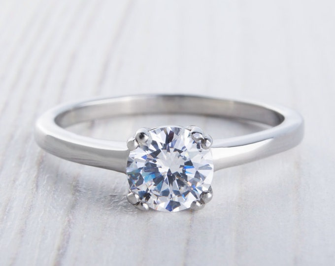 On Sale! 1ct Man Made Diamond Simulant solitaire ring in Titanium or White Gold - engagement ring - wedding ring - handmade ring