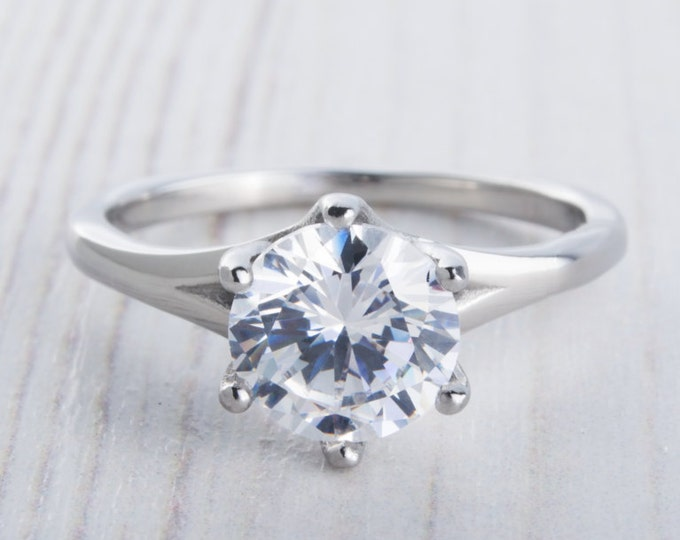 1.5ct Man Made Diamond Simulant Solitaire ring available in white gold or Titanium - engagement ring - wedding ring