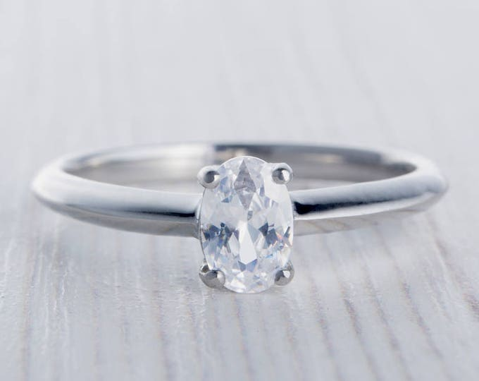 On Sale! 0.60ct Oval Man Made Diamond Simulant solitaire ring available in Titanium or White Gold - engagement ring - handmade ring