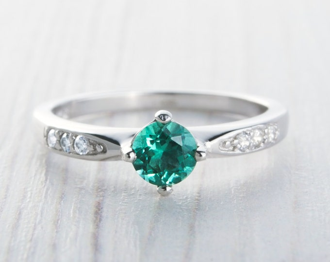 Natural Emerald Solitaire engagement ring - available in sterling silver or white gold - handmade engagement ring - wedding ring