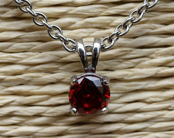 Natural Garnet pendant necklace - in 4mm, 5mm, 6mm, 7mm - Available in white gold or titanium