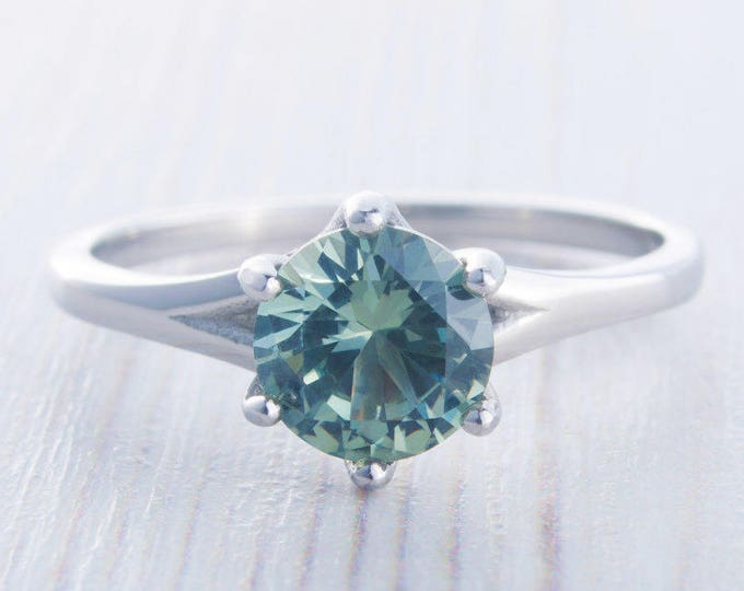 1.5ct Green Sapphire solitaire ring in Titanium or White Gold - engagement ring - wedding ring - handmade ring