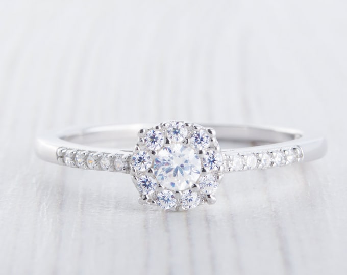 On Sale! Man Made Diamond Simulant halo Engagement Ring - Available in Sterling Silver or White Gold - Handmade