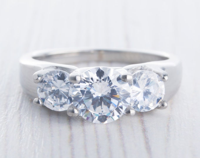 White Sapphire 3 stone trellis trilogy ring in titanium or white gold - engagement ring