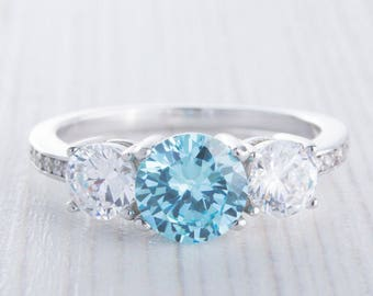 Natural Aquamarine and Man Made Diamond Simulant Trilogy ring available in white gold and sterling silver - engagement ring - wedding ring