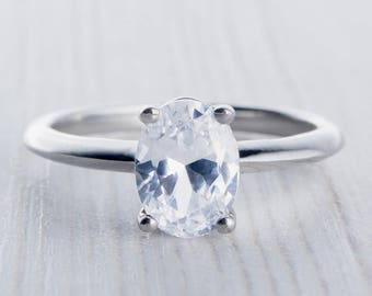 1.50ct Oval Man Made Diamond Simulant solitaire ring available in Titanium or White Gold - engagement ring - handmade ring