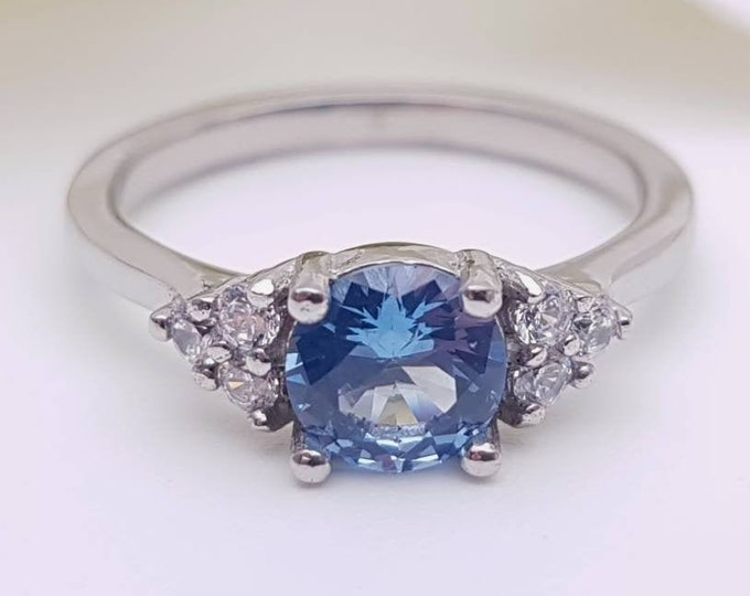 Natural Aquamarine & Man Made Diamond Simulant ring available in white gold or Titanium - engagement ring - wedding ring