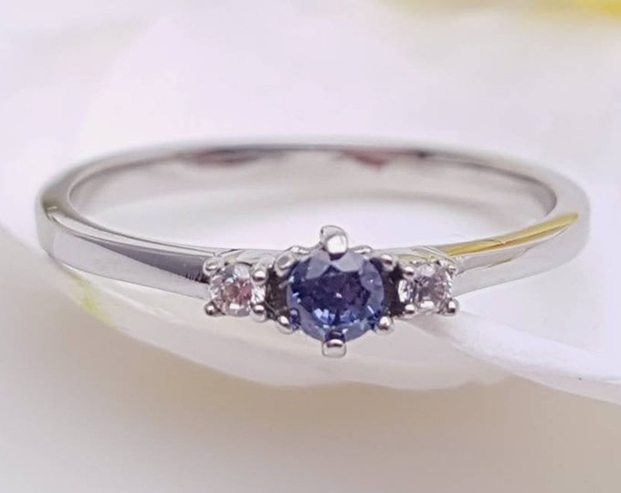 Natural Tanzanite and White Sapphire 3 stone Trilogy Ring in White Gold or Titanium  - engagement ring - handmade ring