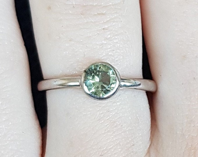 Natural Green Sapphire bezel set solitaire ring - Available in white gold or sterling silver - handmade ring