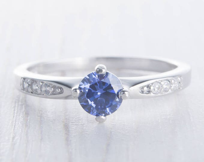 Natural Tanzanite Solid Sterling Silver Solitaire engagement ring - handmade engagement ring - wedding ring