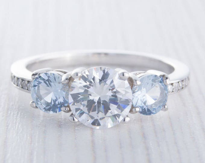 Aquamarine and Man Made Diamond Simulant Trilogy Ring - Availabie in white gold or sterling silver - engagement ring - wedding ring