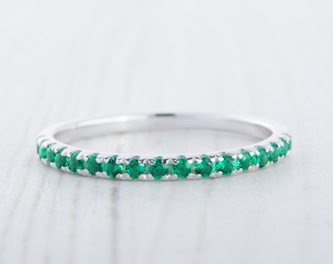 1.8mm wide Natural Emerald Half Eternity stacking ring  in white gold or Silver - stacking ring - wedding band - handmade ring