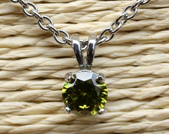 Genuine Peridot Pendant Necklace - Available in white gold and titanium