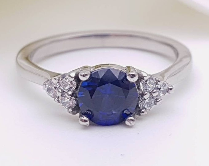 Blue Sapphire & Man Made Diamond Simulant ring available in white gold or Titanium - engagement ring - wedding ring