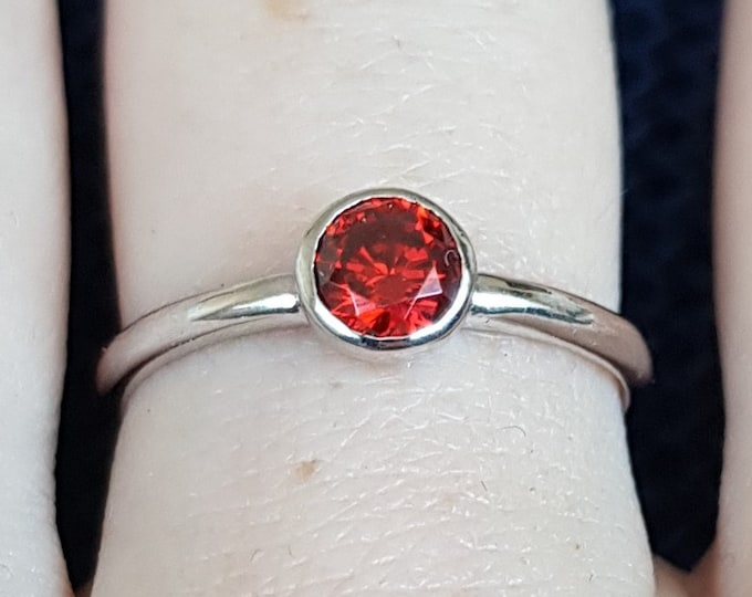 Natural Garnet bezel set solitaire ring - Available in white gold or sterling silver - handmade ring