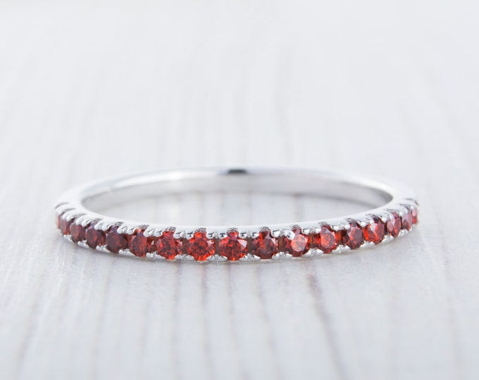 1.8mm wide Garnet Half Eternity ring  in white gold or Silver - stacking ring - wedding band - handmade engagement ring