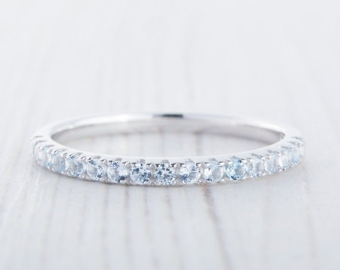 1.8mm wide natural Aquamarine Half Eternity ring  in white gold or Silver - stacking ring - wedding band - handmade engagement ring