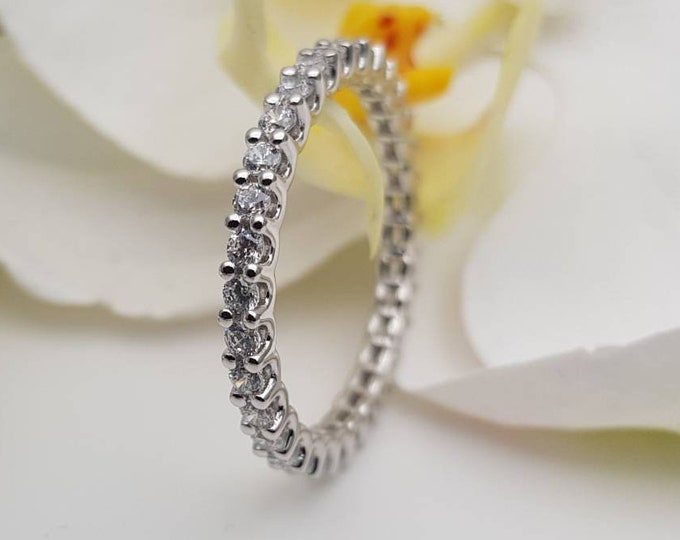 Solid Gold 3mm wide Man Made Diamond Simulant FULL Eternity ring - stacking ring - wedding band