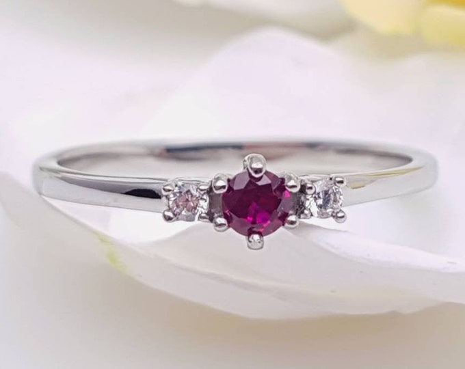 Natural Ruby and White Sapphire 3 stone Trilogy Ring in White Gold or Titanium  - engagement ring - handmade ring