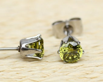 Genuine Peridot and surgical steel stud earrings in either 3mm, 4mm, 5mm or 6mm sizes!