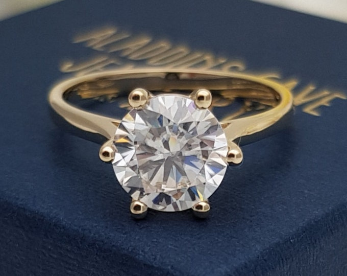2ct Solid gold Cathedral setting Moissanite solitaire ring available in 10k, 14k, 18k Rose, yellow or white gold - engagement ring