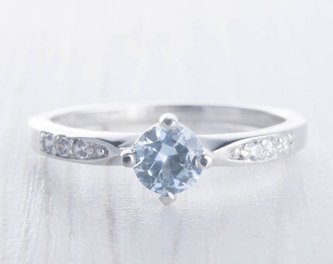 Genuine aquamarine Solitaire engagement ring - Available in solid gold and platinum - handmade engagement ring - wedding ring