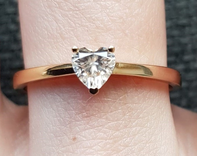 Heart cut Moissanite solitaire ring available solid gold, platinum or silver - engagement ring