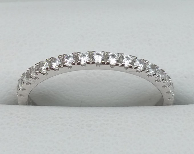 Natural Diamond 2mm wide Half Eternity ring available in Silver, gold or platinum - handmade engagement ring