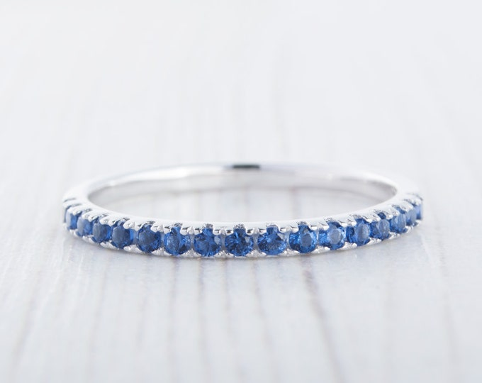 1.8mm wide Lab Blue Sapphire Half Eternity ring in white gold or Silver - stacking ring - wedding band - handmade engagement ring
