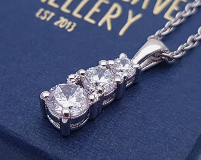 Moissanite and solid Gold Trilogy Necklace - available in white, yellow and rose gold - also platinum too!