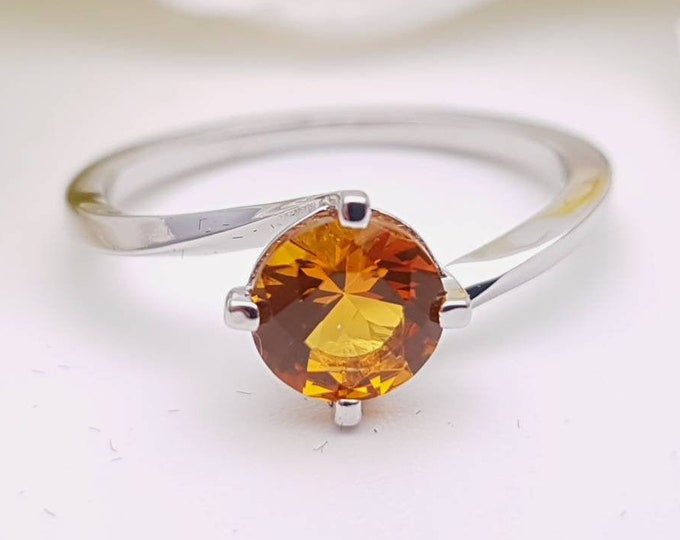 1.25ct Orange Sapphire solitaire ring available in solid gold or platinum - engagement ring
