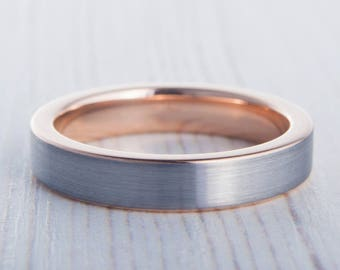 4mm 14K Rose Gold and Titanium Wedding ring band for men and women