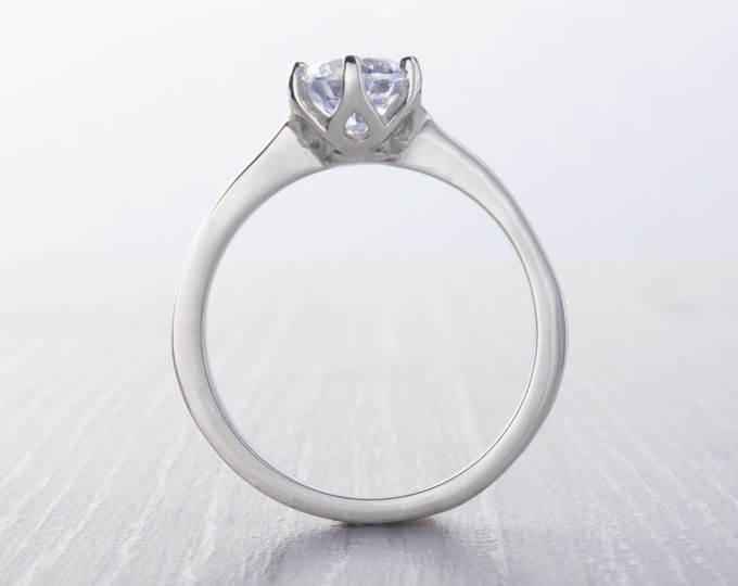 1ct Man Made Diamond Simulant Solitaire ring available in white gold or titanium - engagement ring - Hand made