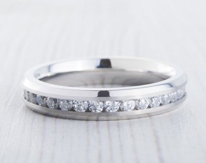 4mm Full Eternity ring - stacking ring in white gold or titanium with stunning Man Made Diamond Simulants - wedding band