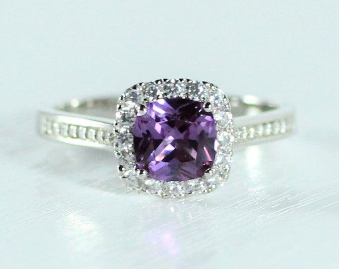 Amethyst cushion cut man made diamond halo solitaire engagement ring available in 10k, 14k, 18k Rose, yellow or white gold and platinum