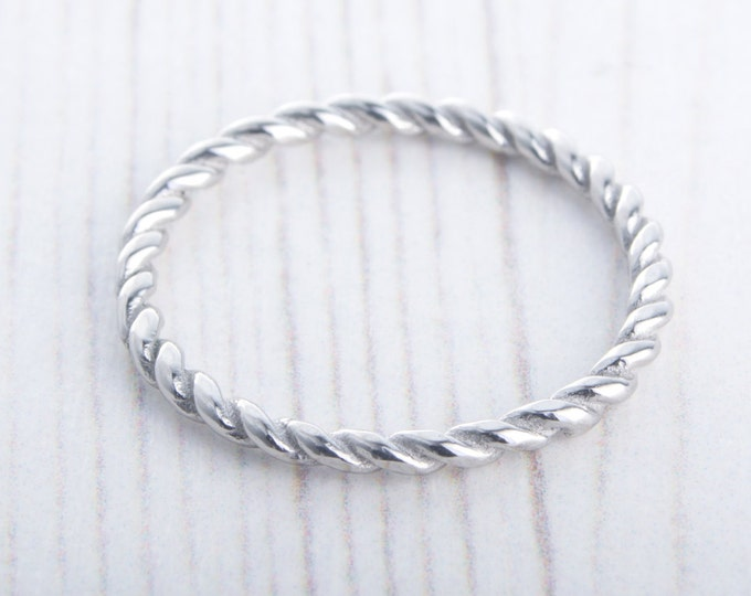 2mm twist Weave Ring available in titanium and white gold filled - wedding ring - wedding band - promise ring