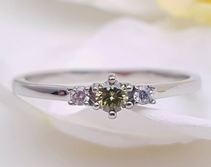 Natural Peridot and White Sapphire 3 stone Trilogy Ring in White Gold or Titanium  - engagement ring - handmade ring