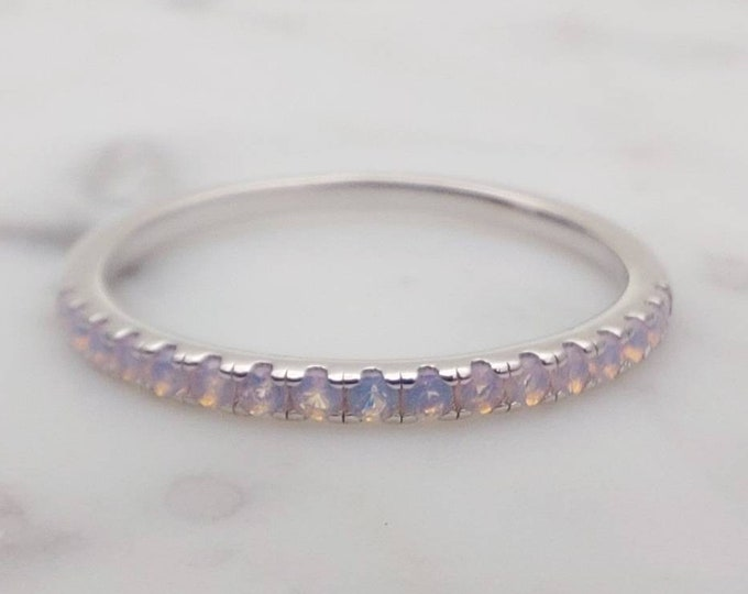 1.8mm wide Opal Half Eternity ring  in white gold or Silver - stacking ring - wedding band - handmade engagement ring