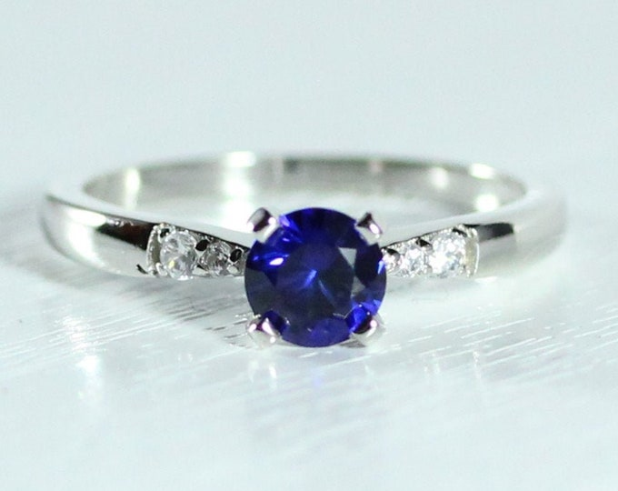 0.55ct Natural blue Sapphire solitaire ring available in 10k, 14k, 18k Rose, yellow or white gold, also platinum - engagement ring