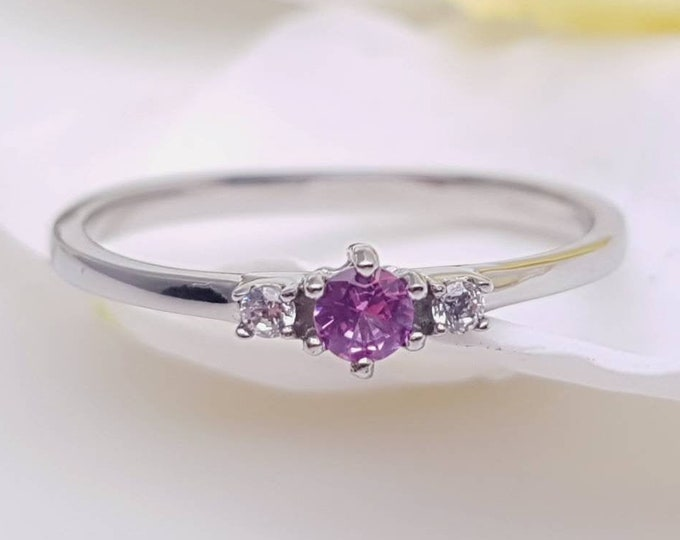 Pink Tourmaline and White Sapphire 3 stone Trilogy Ring in White Gold or Titanium  - engagement ring - handmade ring