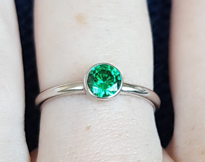Lab Emerald bezel set solitaire ring - Available in white gold or sterling silver - handmade ring