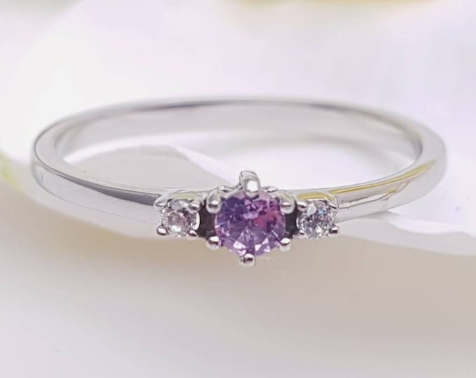 Alexandrite and White Sapphire 3 stone Trilogy Ring in White Gold or Titanium  - engagement ring - handmade ring
