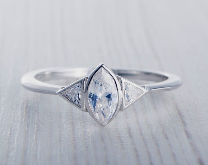 ON SALE! Marquise and Trillion cut Man Made Diamond Simulant ring - Available in White gold or sterling silver - handmade engagement ring