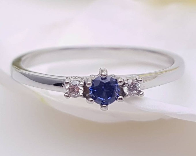 Natural Blue Sapphire and White Sapphire 3 stone Trilogy Ring in White Gold or Titanium  - engagement ring - handmade ring