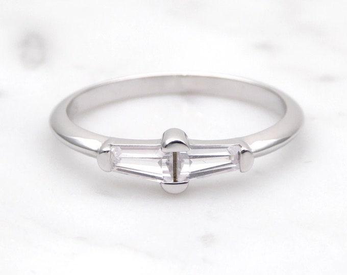 Baguette Moissanite Solid Gold  wedding ring - stacking ring - wedding band